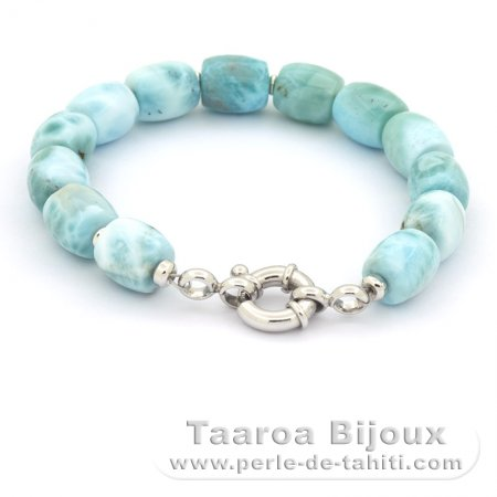 Bracelet of 14 Larimar Beads - 18.5 cm - 21 gr