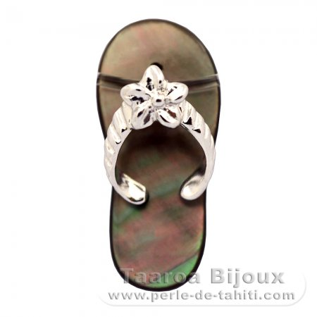 Mother-of-Pearl and Rhodiated Sterling Silver Sandal Pendant - Free Gift for purchases over 350 Euros