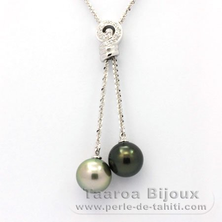 Rhodiated Sterling Silver Chain and 2 Tahitian Pearls Round C 11.2 mm