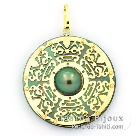18K Gold + Mother-of-Pearl Pendant and 1 half Tahitian Pearl - Diameter = 27 mm - Chance