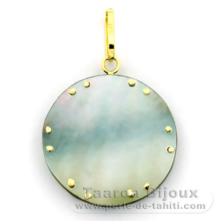 18K Gold and Tahitian Mother-of-Pearl Pendant - Diameter = 21 mm - Turtle