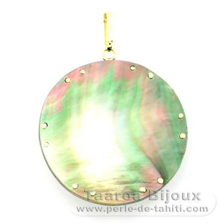 18K Gold and Tahitian Mother-of-Pearl Pendant - Diameter = 27 mm - Mana Tiki