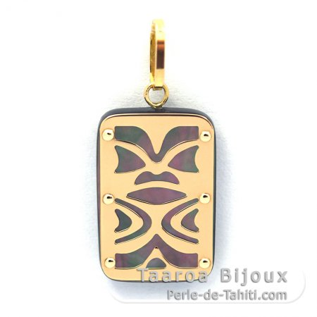 18K Gold and Tahitian Mother-of-Pearl Pendant - Dimensions = 18 X 12 mm - Chance