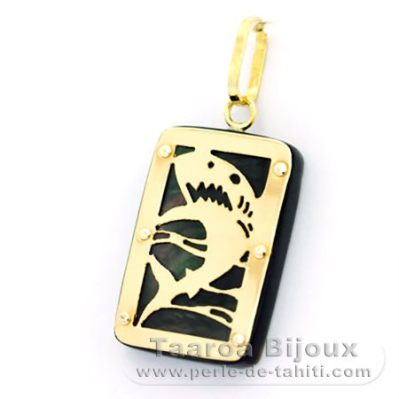 18K Gold and Tahitian Mother-of-Pearl Pendant - Dimensions = 18 X 12 mm - Shark