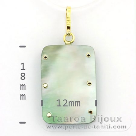 18K Gold and Tahitian Mother-of-Pearl Pendant - Dimensions = 18 X 12 mm - Mana