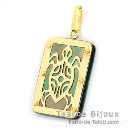 18K Gold and Tahitian Mother-of-Pearl Pendant - Dimensions = 24 X 16 mm - Turtle