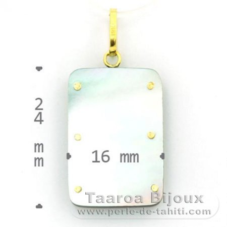 18K Gold and Tahitian Mother-of-Pearl Pendant - Dimensions = 24 X 16 mm - Island