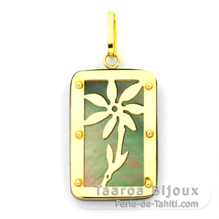 18K Gold and Tahitian Mother-of-Pearl Pendant - Dimensions = 24 X 16 mm - Tiaré