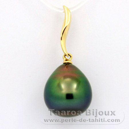 18K solid Gold Pendant and 1 tahitian Pearl Semi-Baroque B+ 11.9 mm