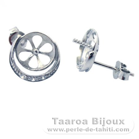 Earrings for pearls from 8.5 to 12 mm - Silver .925 - Settings for pearls