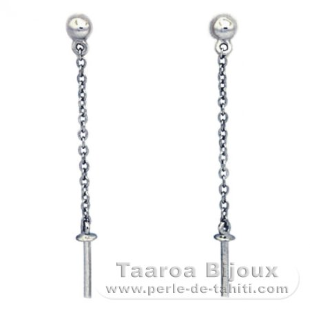 Earrings for pearls of 9.5 mm max - Silver .925 - Settings for pearls