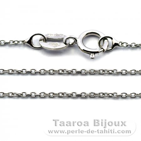 Rhodiated Sterling Silver Chain - Length = 40 cm - 16'' / Diameter = 1 mm