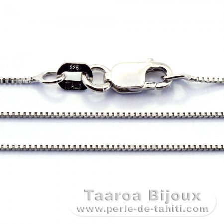 Rhodiated Sterling Silver Chain - Length = 45 cm - 18'' / Diameter = 0.6 mm