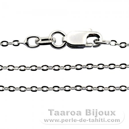 Rhodiated Sterling Silver Chain - Length = 40 cm - 16'' / Diameter = 1.3 mm