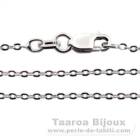 Rhodiated Sterling Silver Chain - Length = 45 cm - 18'' / Diameter = 1.3 mm
