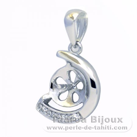 Rhodiated Sterling Silver + Rhodium Pendant for 1 Pearl from 7 to 9 mm
