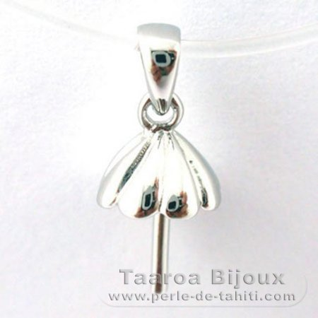 Rhodiated Sterling Silver + Rhodium Pendant for 1 Pearl from 10 to 14 mm