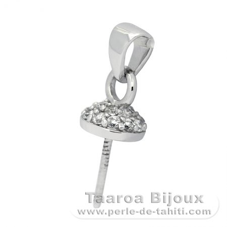 Rhodiated Sterling Silver Pendant for 1 Pearl from 11.5 to 16 mm
