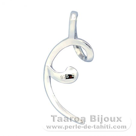 Rhodiated Sterling Silver Pendant for 1 Pearl from 8.5 to 10 mm