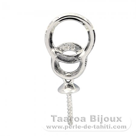 Rhodiated Sterling Silver Pendant for 1 Pearl from 10 to 14 mm