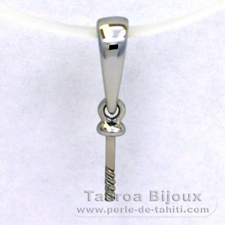 18K Solid White Gold Pendant for 1 Pearl from 9 to 12 mm