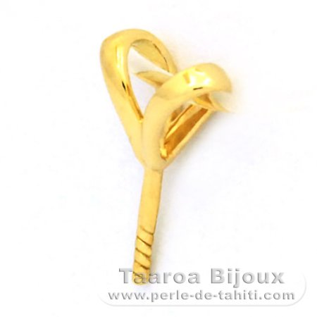 18K Solid Gold Pendant for 1 Pearl from 9 to 12 mm