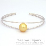 .925 Solid Silver Bracelet and 1 Australian Pearl Round B 10.6 mm