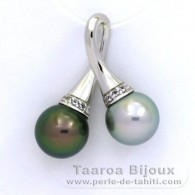Rhodiated Sterling Silver Pendant and 2 Tahitian Pearls Round C 9.5 mm