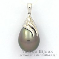 Rhodiated Sterling Silver Pendant and 1 Tahitian Pearl Semi-Baroque C 12 mm