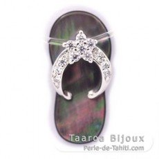 Mother-of-Pearl and Rhodiated Sterling Silver sandal pendant