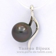 18K Solid White Gold Pendant and 1 tahitian Pearl Round A 9 mm