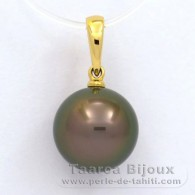 18K solid Gold Pendant and 1 Tahitian Pearl Round A 10.9 mm