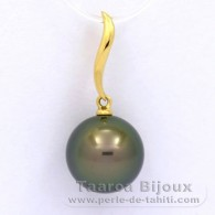 18K solid Gold Pendant and 1 Tahitian Pearl Round A 11.2 mm