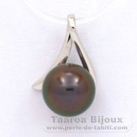 18K Solid White Gold Pendant and 1 Tahitian Pearl Round A 8.9 mm