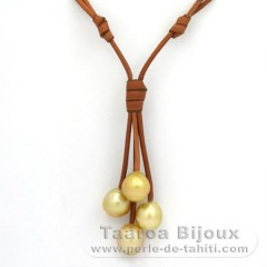 Leather Necklace and 4 Australian Pearls Semi-Baroque C from 12 to 12.5 mm