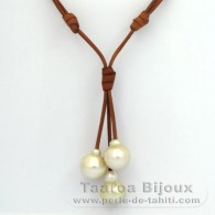 Leather Necklace and 3 Australian Pearls Semi-Baroque C from 13.7 to 15 mm