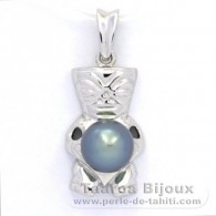 Rhodiated Sterling Silver Pendant and 1 Tahitian Pearl Semi-Baroque C 8.6 mm