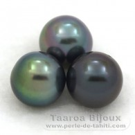 Lot of 3 Tahitian Pearls Semi-Round C from 9.7 to 9.9 mm