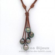 Leather Necklace and 5 Tahitian Pearls Semi-Baroque C from 10 to 10.3 mm