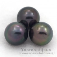 Lot of 3 Tahitian Pearls Semi-Round C from 9.6 to 9.7 mm