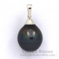 Rhodiated Sterling Silver Pendant and 1 Tahitian Pearl Ringed C 14.2 mm