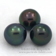 Lot of 3 Tahitian Pearls Semi-Round C from 8.9 to 9 mm