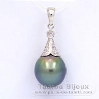 Rhodiated Sterling Silver Pendant and 1 Tahitian Pearl Semi-Baroque C 10.9 mm