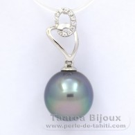 Rhodiated Sterling Silver Pendant and 1 Tahitian Pearl Semi-Baroque C 11.1 mm