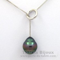 Rhodiated Sterling Silver Necklace and 1 Tahitian Pearl Ringed B 10.3 mm