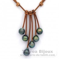 Leather Necklace and 6 Tahitian Pearls Ringed C+ from 9 to 9.2 mm