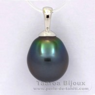 18K Solid White Gold Pendant and 1 Tahitian Pearl Semi-Baroque B 9.5 mm