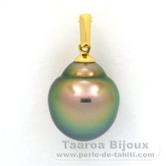 18K solid Gold Pendant and 1 tahitian Pearl Semi-Baroque B 11.9 mm