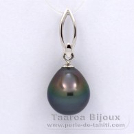 18K Solid White Gold Pendant and 1 Tahitian Pearl Semi-Baroque A 11.3 mm