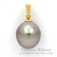 18K solid Gold Pendant and 1 Tahitian Pearl Semi-Baroque B 11.1 mm